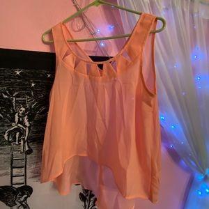 BCBGeneration semi-sheer pinkish orange blouse